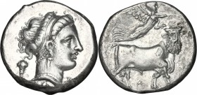 Greek Italy. Central and Southern Campania, Neapolis. AR Didrachm, 300-275 BC. D/ Head of nymph right, wearing taenia; behind, bunch of grapes. R/ Man...