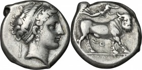 Greek Italy. Central and Southern Campania, Neapolis. AR Didrachm, 300-275 BC. D/ Head of nymph right, wearing taenia; behind, club. R/ Man-headed bul...