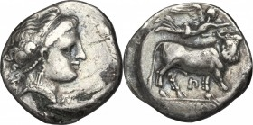 Greek Italy. Central and Southern Campania, Neapolis. AR Didrachm, circa 300-275 BC. D/ Head of nymph right; before, AP monogram; behind, Artemis hold...