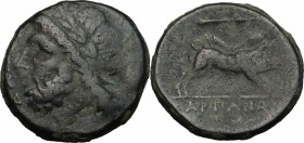 Greek Italy. Northern Apulia, Arpi. AE 22 mm, 325-275 BC. D/ Head of Zeus left, laureate. R/ Boar right; above, spear-head. HN Italy 642. AE. g. 9.35 ...