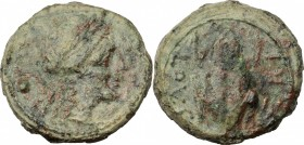 Greek Italy. Northern Apulia, Luceria. AE Uncia, c. 211-200 BC. D/ Laureate head of Apollo right, bow and quiver at shoulder; at left, pellet. R/ Frog...