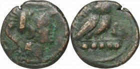 Greek Italy. Northern Apulia, Teate. AE Quincunx, 275-225 BC. D/ Head of Athena right, helmeted. R/ Owl standing right, head facing; below, 5 pellets....