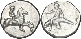 Greek Italy. Southern Apulia, Tarentum. AR Nomos, 380-340 BC. D/ Horseman galloping right; below, Λ. R/ Phalantos riding on dolphin left, holding aphl...