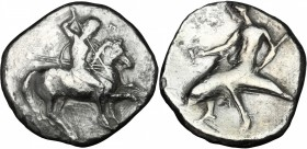 Greek Italy. Southern Apulia, Tarentum. AR Nomos, 332-302 BC. D/ Horseman galloping right, spearing downwards. R/ Phalantos riding on dolphin left, ho...