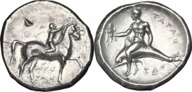 Greek Italy. Southern Apulia, Tarentum. AR Nomos, 302-280 BC. D/ Horseman right, crowning his horse; below, magistrate's name. R/ Phalantos riding on ...
