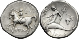 Greek Italy. Southern Apulia, Tarentum. AR Nomos, c. 272-240 BC. Histiar-and Eu-magistrates. D/ Youth on horseback left, crowning horse with wreath; E...