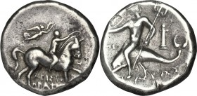 Greek Italy. Southern Apulia, Tarentum. AR Nomos, 272-240 BC. D/ Horseman right, crowning his horse; above, Nike flying holding wreath. R/ Phalantos r...