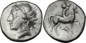 "Greek Italy. Southern Apulia, ""Campano-Tarentine"". AR Didrachm, c. 281-228 BC. D/ Diademed head of nymph left, wearing earrings and necklace. R/ Horse..."