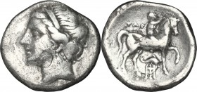 "Greek Italy. Southern Apulia, ""Campano-Tarentine"". AR Ddirachm, 281-228 BC. D/ Head of nymph Satyra left, diademed. R/ Horseman right, crowning his ho..."