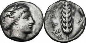Greek Italy. Southern Lucania, Metapontum. AR Stater, 400-340 BC. D/ Head of Demeter right. R/ Ear of barley; to right, pear. HN Italy 1542. AR. g. 7....