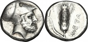 Greek Italy. Southern Lucania, Metapontum. AR Stater, 340-330 BC. D/ Head of Leukippos right, helmeted. R/ Ear of barley; to left, club. HN Italy 1575...