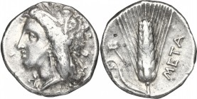 Greek Italy. Southern Lucania, Metapontum. AR Stater, circa 330-290 BC. D/ Head of Demeter wearing barley-wreath. R/ ΜΕΤΑ. Ear of barley with leaf to ...