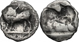 Greek Italy. Southern Lucania, Sybaris. AR Drachm, 550-510 BC. D/ Bull standing left, head right. R/ Incuse bull standing right, head left. HN Italy 1...