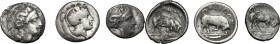 Greek Italy. Southern Lucania, Thurium. Lot of 3 AR Triobols, 400-350 BC. D/ Head of Athena right, wearing helmet decorated with Scylla. R/ Bull butti...