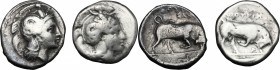 Greek Italy. Southern Lucania, Thurium. Lot of 2 AR Staters, 400-350 BC. AR. About VF:Good F.