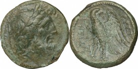 Greek Italy. Bruttium, The Brettii. AE 22mm, 214-211 BC. D/ Head of Zeus right, laureate. R/ Eagle standing left, head turned right, wings open. HN It...