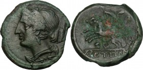 Greek Italy. Bruttium, The Brettii. AE Half Unit, 211-208 BC. D/ Bust of Nike left. R/ Zeus in biga left; below, racing torch. HN Italy 1989. AE. g. 4...