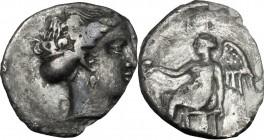 Greek Italy. Bruttium, Terina. AR Triobol, 420-400 BC. D/ Head of nymph right. R/ Nike seated left, holding bird. HN Italy 2426. AR. g. 0.90 mm. 12.00...
