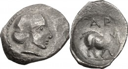 Sicily. Abacaenum. AR Hemilitron, 425-420 BC. D/ Head of nymph right, hair in sphendone. R/ ABA. Sow standing right. HGC 26. SNG ANS V, 1292. AR. g. 0...