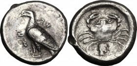 Sicily. Akragas. AR Didrachm, circa 480/478-470 BC. D/ Eagle standing left. R/ Crab; below, head right; all within circular incuse. HGC 97; SNG ANS 95...