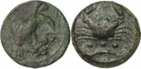 Sicily. Akragas. AE Tetras, end of 5th century - 406 BC. D/ Eagle right on hare. R/ Crab; below, three pellets and crayfish. CNS I, 50. AE. g. 7.43 mm...