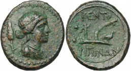 Sicily. Centuripae. AE Hexas, 344-336 BC. D/ Head of Demeter right; behind, stalk of grain. R/ Plough left; on share, bird; behind, two pellets. CNS I...