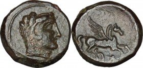 Sicily. Cephaloedium. AE 14 mm, 344-336 BC. D/ Head of Herakles right, wearing lion's skin. R/ Pegasus flying right. CNS I, 3. AE. g. 2.55 mm. 14.00 V...