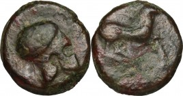 Sicily. Entella. AE 17 mm, 343-339 BC. D/ Campanian helmet. R/ Horse galloping right. CNS I, 14. AE. g. 6.06 mm. 17.00 Green and warm brown patina. VF...
