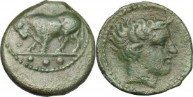 Sicily. Gela. AE Tetras, 420-405 BC. D/ Bull standing left, head lowered; in exergue, three pellets. R/ Head of river god right. CNS III, 3. AE. g. 4....