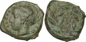 Sicily. Himera. AE Hemilitron, before 407 BC. D/ Head of nymph left; before, six pellets. R/ Six pellets within laurel wreath. CNS I, 35. AE. g. 4.53 ...