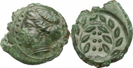 Sicily. Himera. AE Hemilitron, before 407 BC. D/ Head of nymph left; before, six pellets. R/ Six pellets within laurel wreath. CNS I, 35. AE. g. 3.80 ...