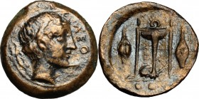 Sicily. Leontini. AE Tetras-Trionkion, circa 405-402 BC. D/ Head of Apollo right, wearing laurel wreath; olive leaf and berry to left, ΛEON to right. ...