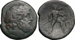 Sicily. Messana. The Mamertinoi. AE Pentonkion, 208-200 BC. D/ Laureate head of Zeus right. R/ MAMEPTINΩN. Warrior advancing right, holding spear and ...