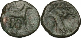 Sicily. Panormos. Roman Rule. AE 20 mm, after 241 BC. D/ Ram standing right; below, head of Janus. R/ Eagle standing right, head left, wings open. CNS...