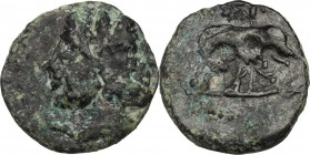 Sicily. Panormos. Roman Rule. AE 15 mm, after 241 BC. D/ Head of Janus, laureate. R/ She-wolf left, suckling twins. cf. CNS I, 111 (larger and she-wol...