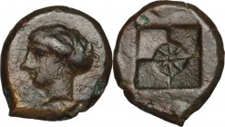 Sicily. Syracuse. Second Democracy (466-405 BC). AE Hemilitron, c. 415 BC. D/ Head of Arethusa left, wearing wreath. R/ Incuse square with four fields...