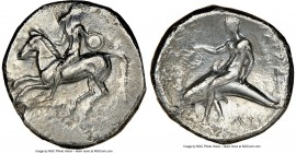 CALABRIA. Tarentum. Ca. 302-280 BC. AR didrachm or stater (22mm, 9h). NGC VF. Philocles, Si- and Ly-, magistrates. Nude youth astride horse galloping ...