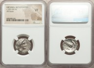 LUCANIA. Metapontum. Ca. 330-280 BC. AR stater (19mm, 10h). NGC VF. Head of Demeter right, crowned with grain; EY below chin / META, grain ear with si...