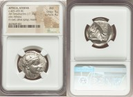 ATTICA. Athens. Ca. 465-455 BC. AR tetradrachm (24mm, 17.17 gm, 3h). NGC AU 5/5 - 4/5. Head of Athena right, wearing crested Attic helmet ornamented w...