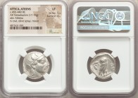 ATTICA. Athens. Ca. 455-440 BC. AR tetradrachm (24mm, 17.16 gm, 11h). NGC VF 5/5 - 4/5. Early transitional issue. Head of Athena right, wearing creste...