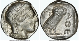 ATTICA. Athens. Ca. 440-404 BC. AR tetradrachm (23mm, 17.21 gm, 7h). NGC Choice AU 5/5 - 4/5. Mid-mass coinage issue. Head of Athena right, wearing cr...