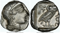 ATTICA. Athens. Ca. 440-404 BC. AR tetradrachm (25mm, 17.22 gm, 11h). NGC Choice AU 3/5 - 5/5. Mid-mass coinage issue. Head of Athena right, wearing c...