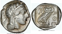 ATTICA. Athens. Ca. 440-404 BC. AR tetradrachm (26mm, 17.19 gm, 10h). NGC AU 5/5 - 5/5. Mid-mass coinage issue. Head of Athena right, wearing crested ...