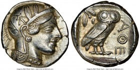 ATTICA. Athens. Ca. 440-404 BC. AR tetradrachm (25mm, 17.20 gm, 4h). NGC AU 5/5 - 4/5. Mid-mass coinage issue. Head of Athena right, wearing crested A...