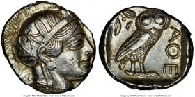 ATTICA. Athens. Ca. 440-404 BC. AR tetradrachm (25mm, 17.21 gm, 10h). NGC AU 4/5 - 4/5. Mid-mass coinage issue. Head of Athena right, wearing crested ...
