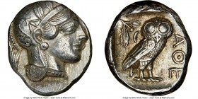 ATTICA. Athens. Ca. 440-404 BC. AR tetradrachm (25mm, 17.20 gm, 1h). NGC AU 4/5 - 4/5. Mid-mass coinage issue. Head of Athena right, wearing crested A...