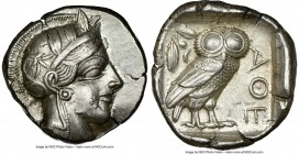 ATTICA. Athens. Ca. 440-404 BC. AR tetradrachm (25mm, 17.21 gm, 3h). NGC Choice XF 5/5 - 4/5. Mid-mass coinage issue. Head of Athena right, wearing cr...