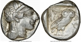 ATTICA. Athens. Ca. 440-404 BC. AR tetradrachm (24mm, 17.18 gm, 12h). NGC Choice XF 3/5 - 4/5. Mid-mass coinage issue. Head of Athena right, wearing c...
