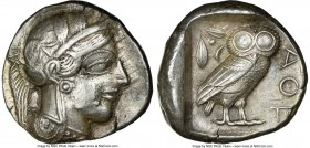 ATTICA. Athens. Ca. 440-404 BC. AR tetradrachm (24mm, 17.19 gm, 2h). NGC XF 4/5 - 4/5. Mid-mass coinage issue. Head of Athena right, wearing crested A...