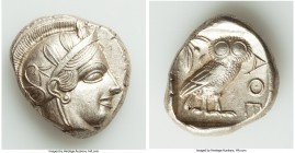 ATTICA. Athens. Ca. 440-404 BC. AR tetradrachm (25mm, 17.19 gm, 6h). AU. Mid-mass coinage issue. Head of Athena right, wearing crested Attic helmet or...